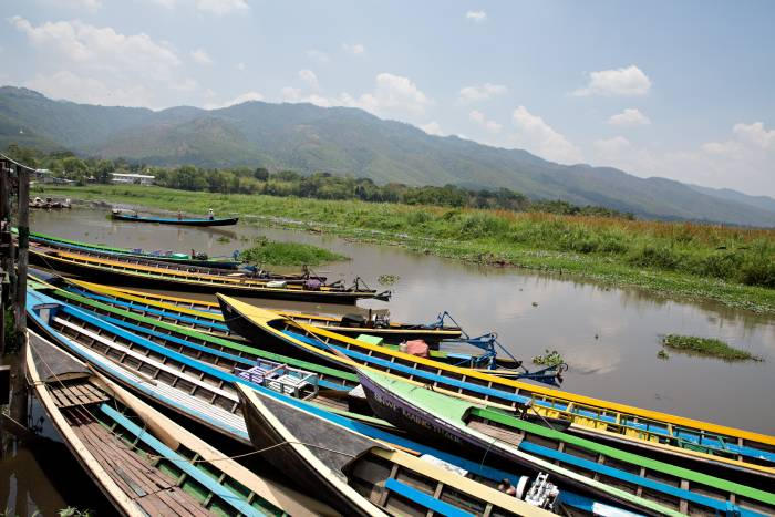 Photo of Myanmar boats by the shore